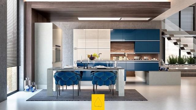 Ngắm phòng bếp được kiến trúc lung linh có màu xanh dương - Ảnh 3.