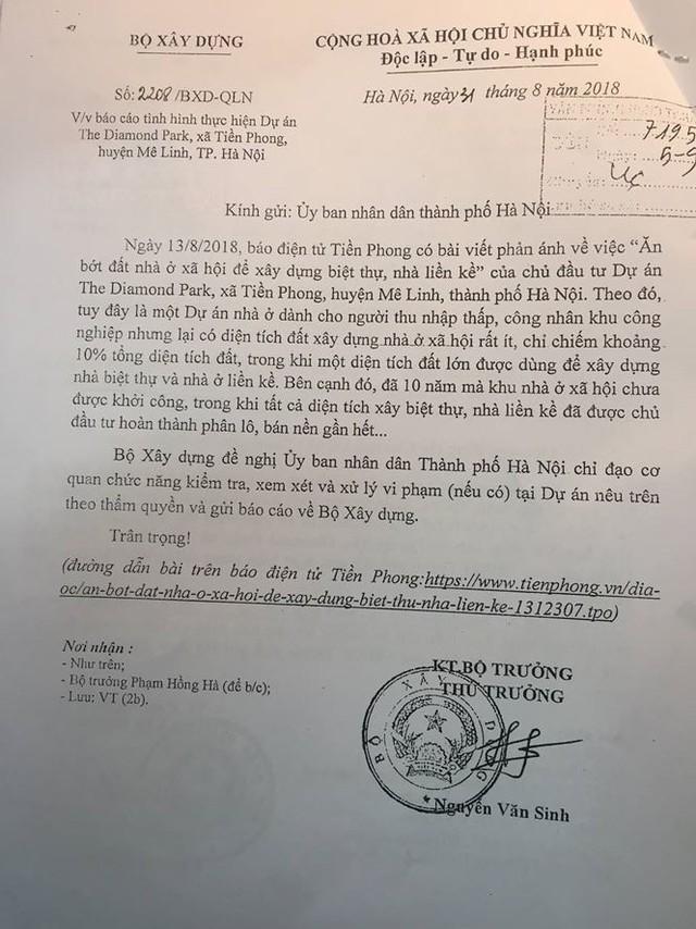 """Bộ Xây dựng yêu cầu Hà Nội báo cáo vụ """"ăn bớt"""" đất nhà ở xã hội xây biệt thự - Ảnh 1."""