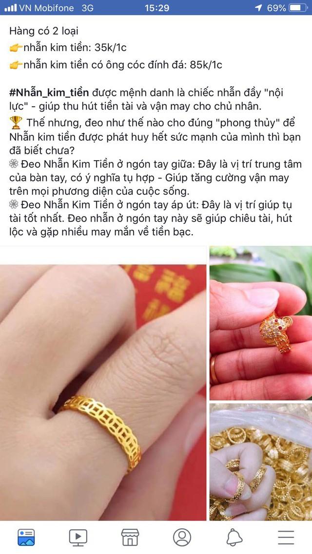 Nhẫn vàng kim tiền giá rẻ bày bán tràn lan - Ảnh 1.
