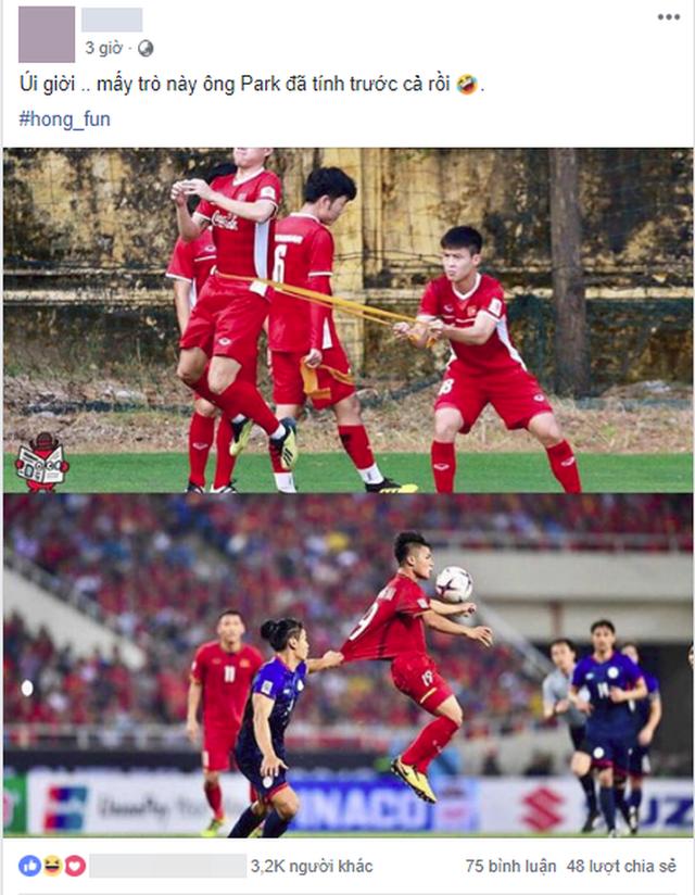 Khoảnh khắc Quang Hải bị cầu thủ Philippines kéo áo được chia sẻ mạnh, nhưng bài tập tiên tri của thầy Park mới gây chú ý - Ảnh 2.