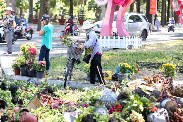 Bế mạc hội hoa xuân Tao Đàn, người dân mót lại hoa sắp cho vào xe rác - Ảnh 1.