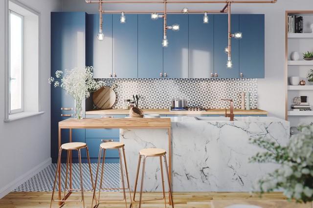 Những mẫu kiến trúc nhà bếp đẹp mê li cho cô nàng thích màu xanh - Ảnh 1.