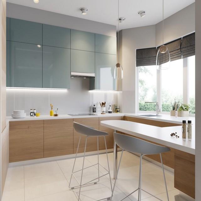Những mẫu kiến trúc nhà bếp đẹp mê li cho cô nàng thích màu xanh - Ảnh 11.