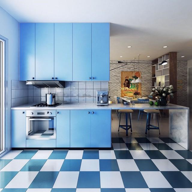 Những mẫu kiến trúc nhà bếp đẹp mê li cho cô nàng thích màu xanh - Ảnh 8.