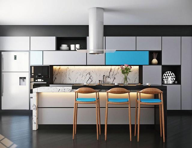 Những mẫu kiến trúc nhà bếp đẹp mê li cho cô nàng thích màu xanh - Ảnh 9.