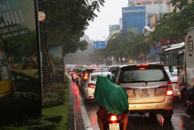 Giao thông cửa ngõ Tân Sơn Nhất tê liệt sau cơn mưa - Ảnh 6.