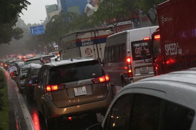 Giao thông cửa ngõ Tân Sơn Nhất tê liệt sau cơn mưa - Ảnh 9.
