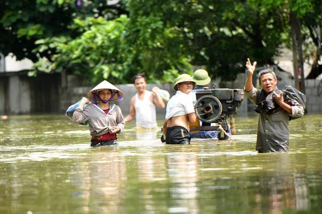 Sau 1 tuần mưa, người Hà Nội dùng thuyền tự chế, bơi trong dòng nước ngập ao bèo về nhà - Ảnh 23.