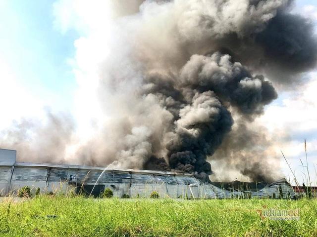 Cháy lớn ở Bình Dương, cột khói đen bốc cao hàng trăm mét - Ảnh 1.