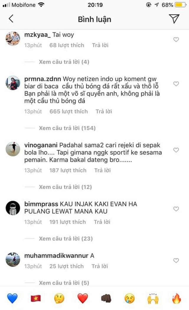 Cay cú vì cầu thủ con cưng bị chấn thương, fan Indonesia tràn vào trang của Đoàn Văn Hậu buông lời chỉ trích, sỉ nhục - Ảnh 9.