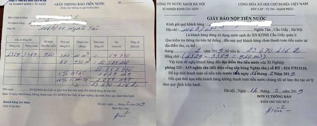 Hà Nội: Choáng thông báo tiền nước 23,6 triệu đồng/tháng, không nộp cắt nước - Ảnh 1.
