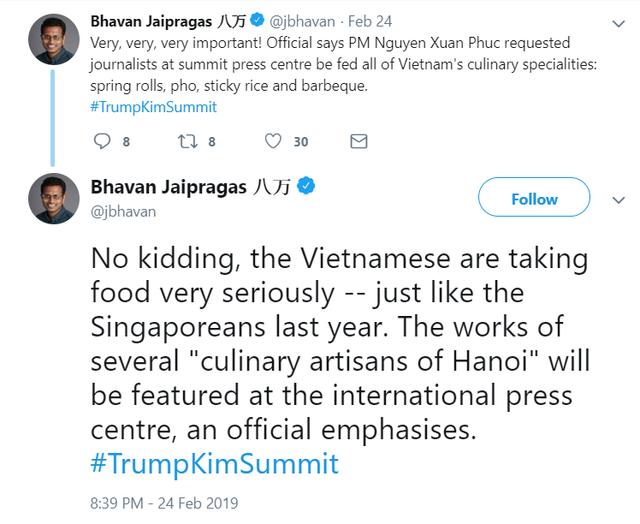 Phóng viên quốc tế đăng đàn khoe sẽ được ăn toàn đặc sản Việt Nam như nem, phở, xôi... trong thời gian Hội nghị thượng đỉnh - Ảnh 1.