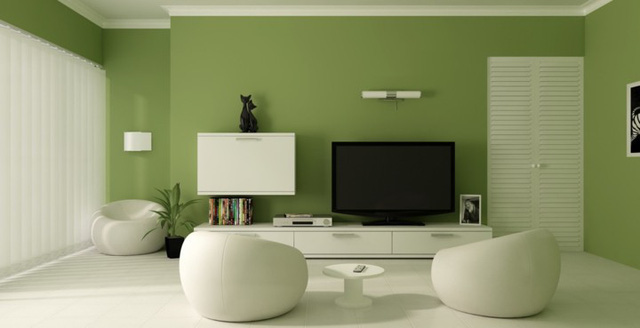 Phòng khách có màu xanh lá cây tạo cảm giác gần gũi với thiên nhiên - Ảnh 1.