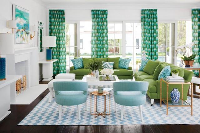 Phòng khách có màu xanh lá cây tạo cảm giác gần gũi với thiên nhiên - Ảnh 11.