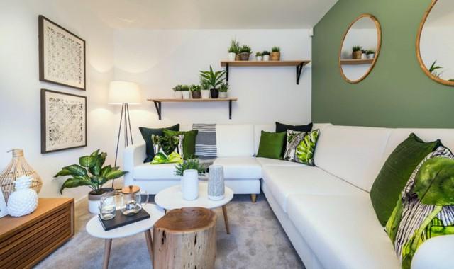 Phòng khách có màu xanh lá cây tạo cảm giác gần gũi với thiên nhiên - Ảnh 12.