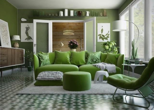 Phòng khách có màu xanh lá cây tạo cảm giác gần gũi với thiên nhiên - Ảnh 3.