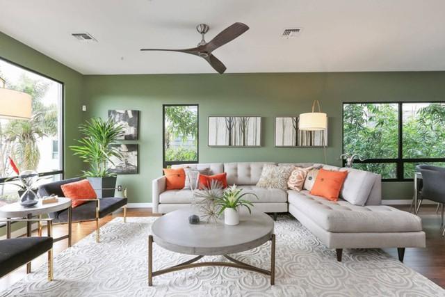 Phòng khách có màu xanh lá cây tạo cảm giác gần gũi với thiên nhiên - Ảnh 4.