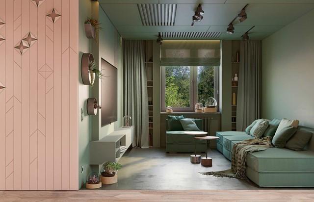Phòng khách có màu xanh lá cây tạo cảm giác gần gũi với thiên nhiên - Ảnh 9.