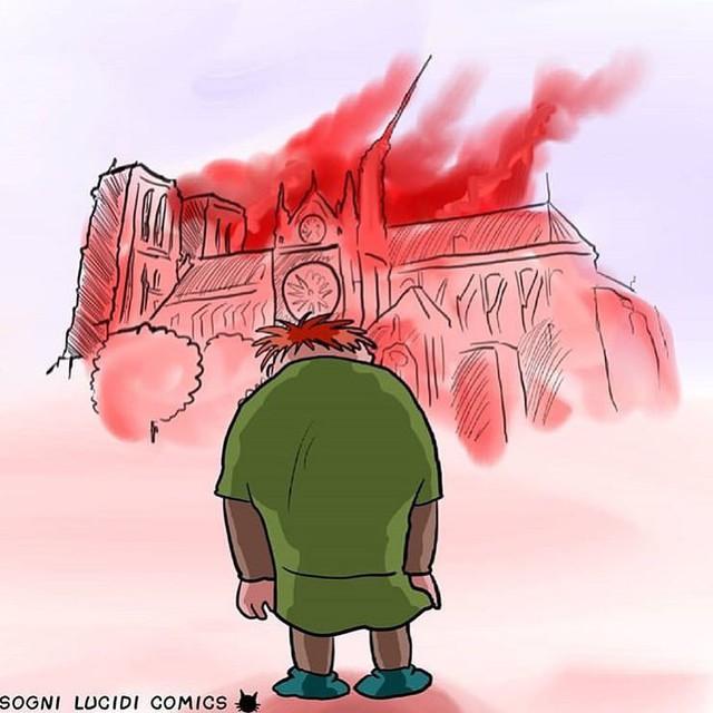 Người dân khắp thế giới đồng loạt chia sẻ những bức vẽ cầu nguyện cho Nhà thờ Đức Bà Paris sau vụ cháy - Ảnh 6.