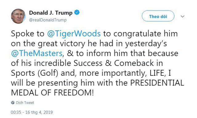 Sau chức vô địch lịch sử, Tiger Woods tiếp tục nhận thêm huân chương cao quý từ Tổng thống Trump  - Ảnh 1.