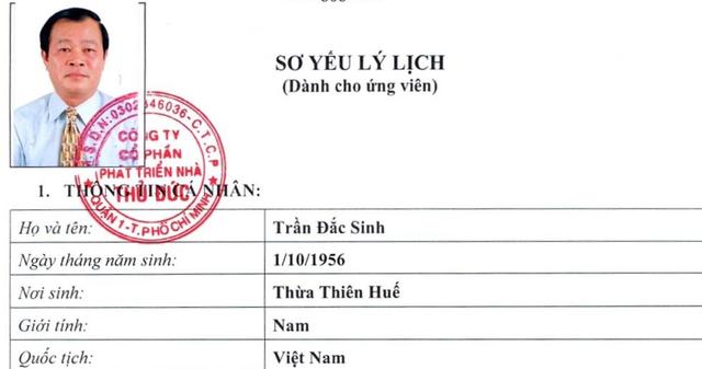 Nguyên Chủ tịch Sở Giao dịch chứng khoán TP.HCM Trần Đắc Sinh ứng cử thành viên HĐQT Thuduc House - Ảnh 1.