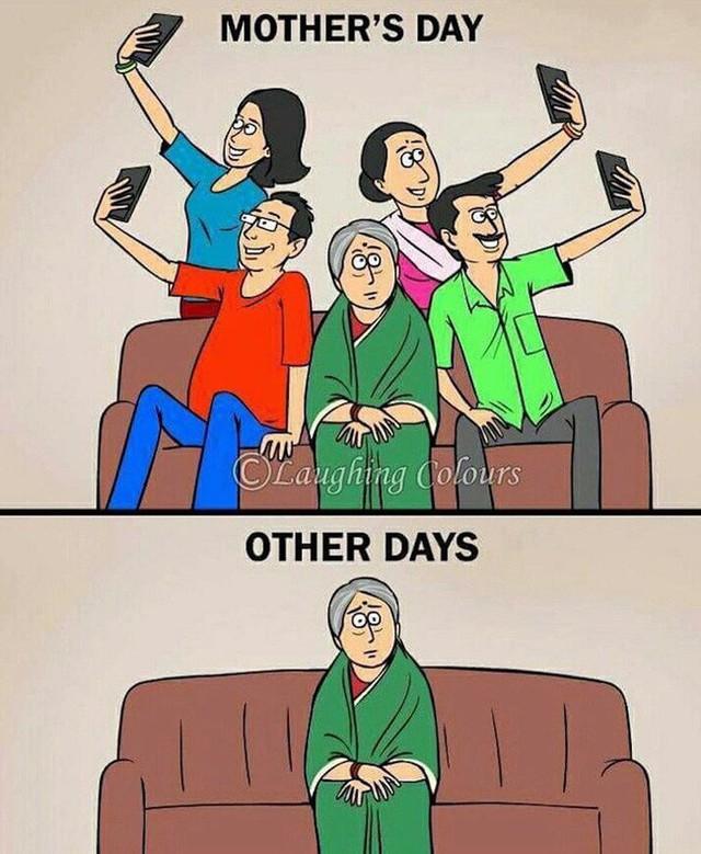 Bức ảnh đáng suy ngẫm trong Ngày của mẹ: Những người con hiếu thảo thời 4.0?  - Ảnh 1.