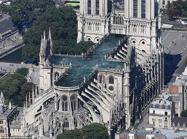 Kiến trúc sư đề xuất xây bể bơi trên nóc nhà thờ Đức Bà Paris - Ảnh 1.