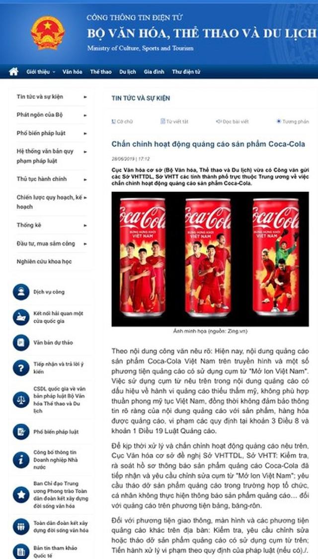 Coca-Cola quảng cáo Mở lon Việt Nam, Bộ VHTT&DL khẳng định không phù hợp thuần phong mỹ tục - Ảnh 1.
