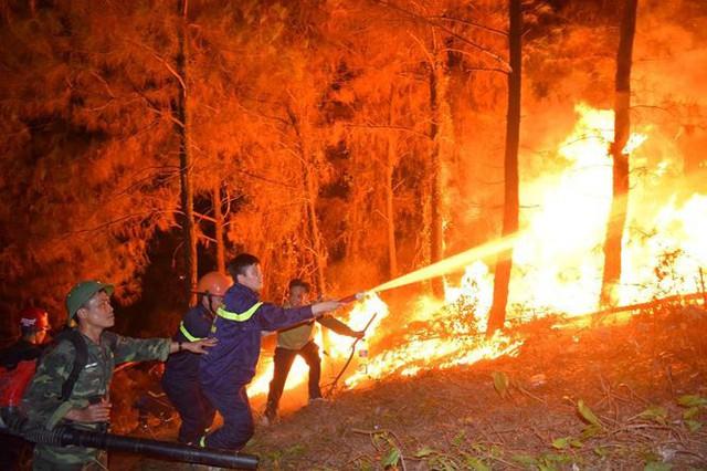 Cháy rừng ở Hà Tĩnh: Biển lửa lan rộng, uy hiếp đường dây 500KV - Ảnh 2.