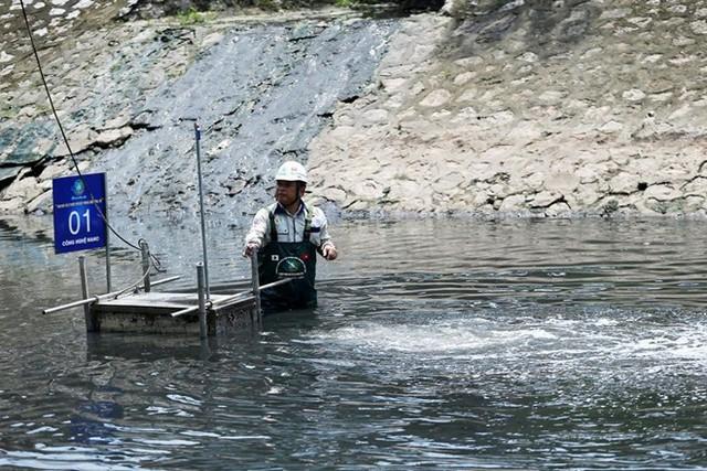 Chuyên gia Nhật Bản lội sông Tô Lịch khảo sát sau 20 ngày thí điểm làm sạch - Ảnh 11.