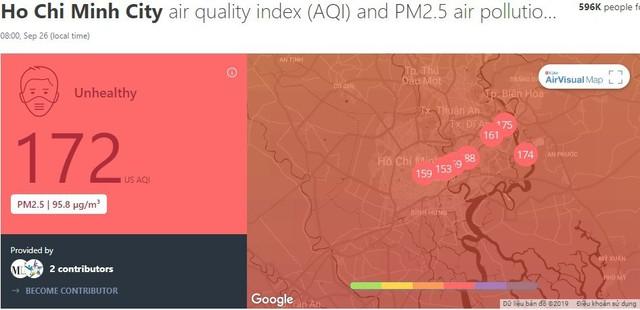 """Lại """"báo động đỏ"""", bầu trời Sài Gòn mù mịt ô nhiễm nặng - Ảnh 1.  Lại """"báo động đỏ"""", bầu trời Sài Gòn mù mịt ô nhiễm nặng photo 1 15694706956801924970323"""