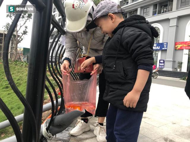 [Ảnh] Độc đáo ở Hà Nội: Thả cá chép qua máng trượt tiễn ông Công ông Táo về trời - Ảnh 14.