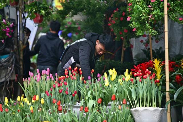 Mặc thời tiết mưa rét, người dân chen chân mua hoa Tết tại chợ hoa lâu đời nhất Hà Nội - Ảnh 1.