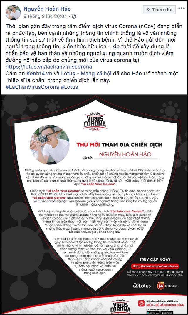 """Sao Vbiz cùng đông đảo KOLs đồng loạt hưởng ứng chiến dịch """"Lá chắn virus corona"""": Bảo vệ mình và xã hội đang là việc làm cấp thiết - Ảnh 32."""
