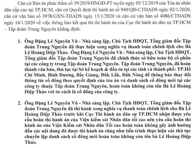 Trung Nguyên tuyên bố bà Thảo không còn là cổ đông ngay, khẳng định yêu cầu hoãn thi hành án của VKS không gây ảnh hưởng - Ảnh 1.