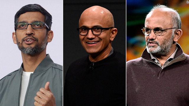 Tính từ trái sang, Sundar Pichai (Alphabet), Satya Narayana Nadella (Microsoft) và Shantanu Narayen (Adobe)