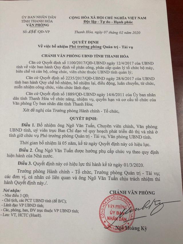 Cựu Phó Chủ tịch Thanh Hóa Ngô Văn Tuấn được bổ nhiệm làm phó phòng - Ảnh 2.