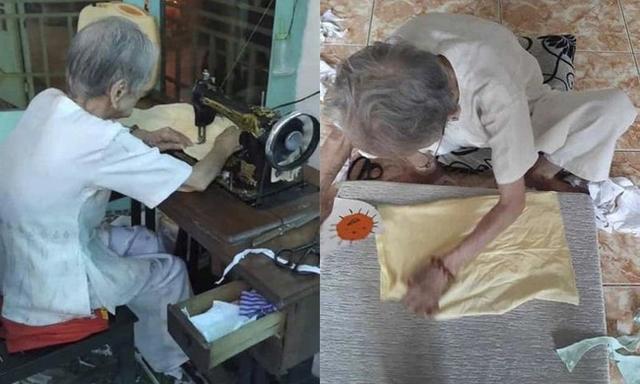 Mẹ Việt Nam anh hùng 95 tuổi may khẩu trang hỗ trợ phòng dịch Covid-19 - Ảnh 1.