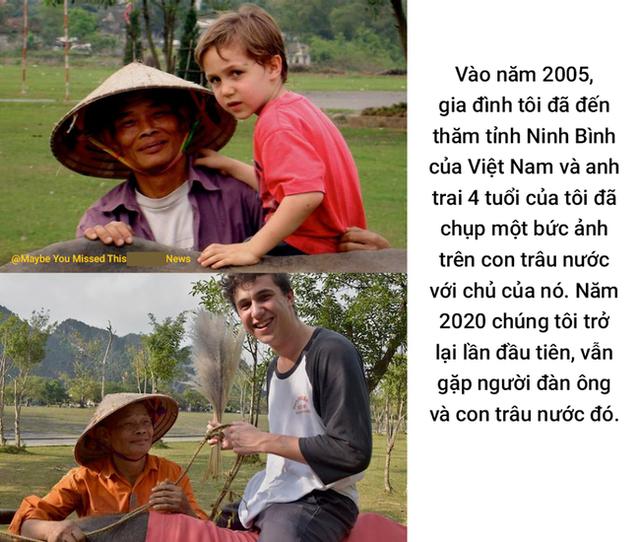 Bức ảnh cậu bé ngoại quốc tìm về người đàn ông chăn trâu ở Ninh Bình sau 15 năm từng gặp mặt khiến dân mạng bồi hồi: Thời gian vô tình quá, ai rồi cũng lớn lên và già đi - Ảnh 1.