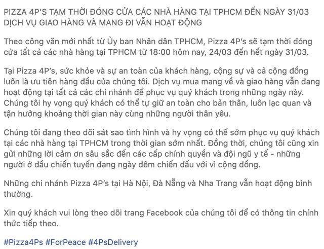 Trước quyết định của TP.HCM, nhiều nhà hàng lớn đã chuyển sang phục vụ tại nhà, kể cả Pizza 4P's trước đây nói không với ship - Ảnh 4.