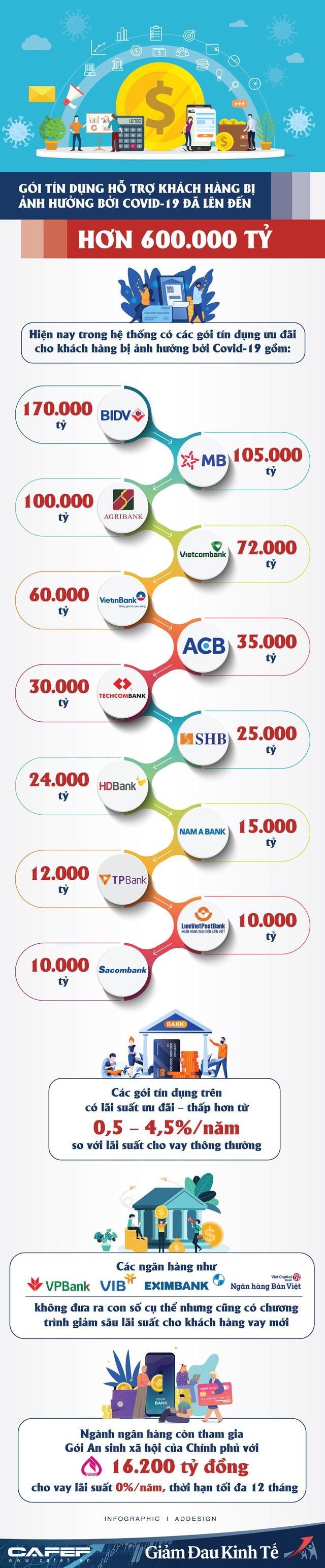 Infographic: Điểm danh các ngân hàng đang tham gia Gói tín dụng hơn 600.000 tỷ hỗ trợ khách hàng bị ảnh hưởng bởi Covid-19 - Ảnh 1.