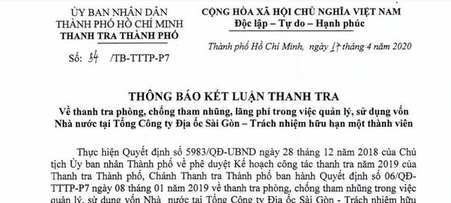Thanh tra chỉ rõ nhiều sai phạm tại Tổng Công ty Địa ốc Sài Gòn - Ảnh 1.