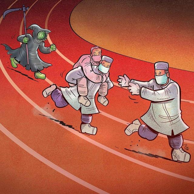 Bộ tranh ấn tượng về những người tuyến đầu chống Covid-19: Dù virus là kẻ thù vô hình nhưng cuộc chiến vẫn quá tàn nhẫn và có nhiều sự hy sinh! - Ảnh 16.