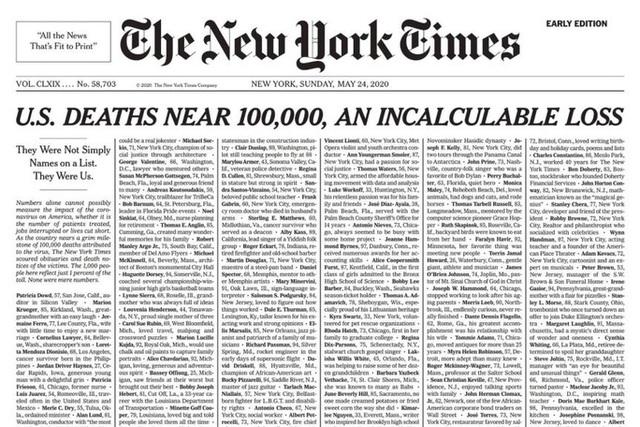 Bản cáo phó đặc biệt trên bìa tờ báo hàng đầu nước Mỹ New York Times - Ảnh 1.