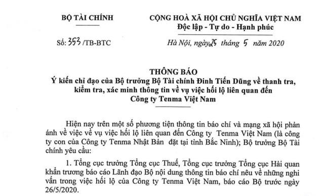 Bộ Tài chính yêu cầu kiểm tra, xác minh công ty Tenma Việt Nam hối lộ cán bộ - Ảnh 1.