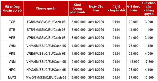SSI phát hành thêm 8 mã chứng quyền mới dựa trên các cổ phiếu chủ chốt - Ảnh 1.