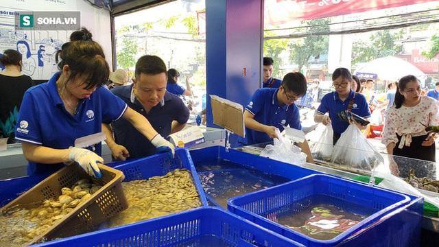 Chen chân mua hải sản giảm sốc 50%, tôm hùm 640.000 đồng/kg, ghẹ xanh 500.000 đồng/kg - Ảnh 8.