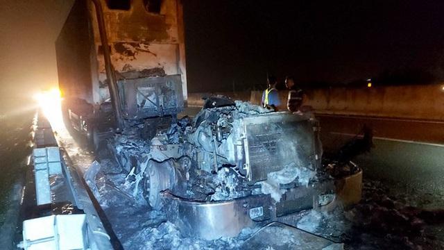 Kinh hãi cảnh xe đầu kéo cháy thành than trên cao tốc TP.HCM-Trung Lương - Ảnh 2.