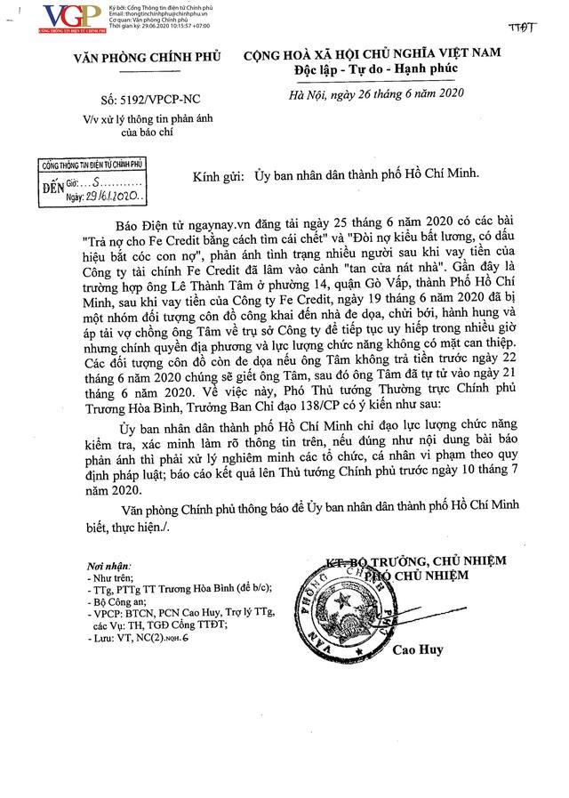 Phó Thủ tướng Trương Hoà Bình yêu cầu làm rõ thông tin bài báo Trả nợ cho Fe Credit bằng cách tìm cái chết - Ảnh 1.