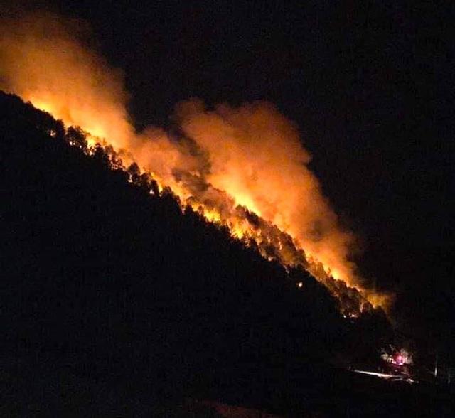 Rừng Nghệ An và Hà Tĩnh lại bốc cháy ngùn ngụt trong đêm, di dời hàng trăm hộ dân ở chân núi - Ảnh 1.